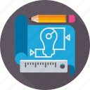 blue print, business, draft, drawing, idea, plan, sketch icon