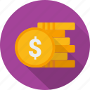 coin, gold, investment, money, penny, stack, treasure icon