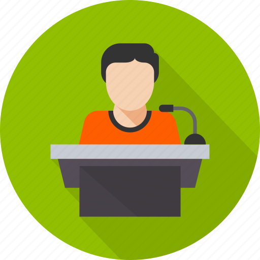 business, conference, meeting, podium, presentation, speak, speech icon