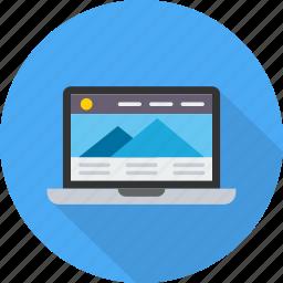 design, interface, laptop, template, themes, website, wordpress icon