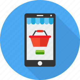 basket, market, mobile, online, shop, smartphone, store icon