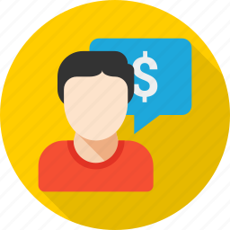 business, cash, dollar, finance, message, money, talk icon