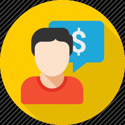 business, cash, dollar, finance, message, money, talk icon