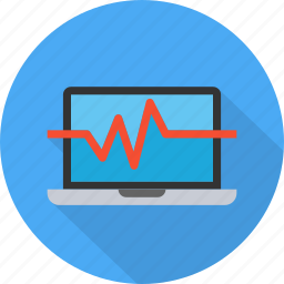analysis, analytics, chart, graph, laptop, monitoring, pulse rate icon