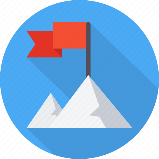 flag, mountain, success, target, victory, win icon
