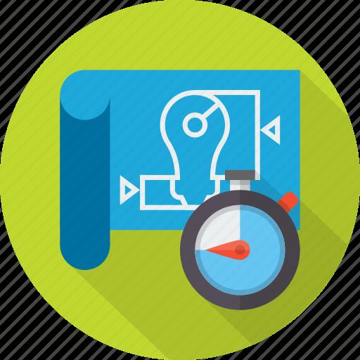 blue print, construction, design, idea, management, plan, project icon