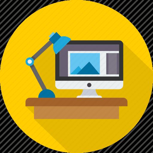 desk, office, room, studio, workplace, workspace icon