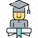 degree, fresh grad, fresh graduate, graduate, graduation, mortarboard, student icon
