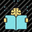 learning, machine learning, machine thinking, reading, studying icon