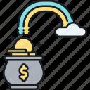 cash, coins, money, pot, profit, rainbow