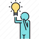 idea, inspiration, inspired, light bulb, thinking icon
