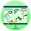 analyze, business plan, creativity, development, planning, startup, step by step icon
