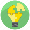 bulp, idea, puzzle, solution, startup, teamwork, work icon