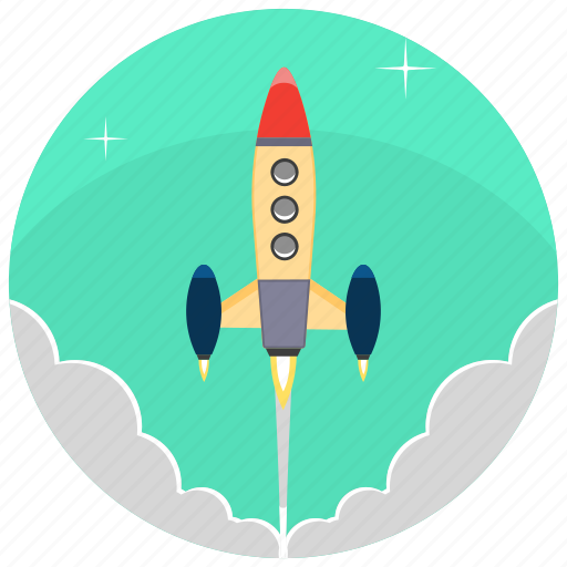 development, product, project, release, rocket, startup, startup rocket icon