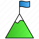 achievement, flag, mountain, top icon