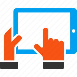 electronic, hand, hold, mobile, pad, screen, tablet icon