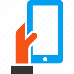 cell phone, connection, hand, hold, iphone, mobile phone, smartphone icon