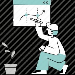 startups, tech, technology, minimalist, projection, chart, increase, growth, data, analytic