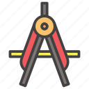 compass, geomatery, math, stationary icon