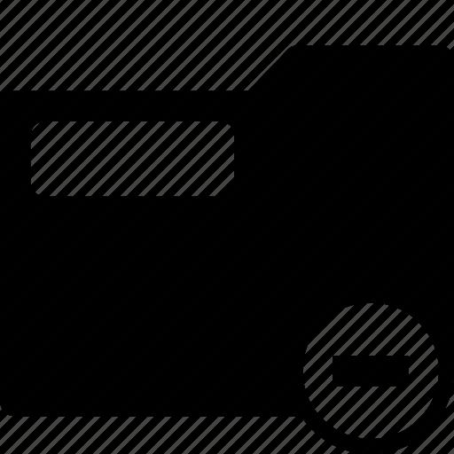 folder, minus, remove, stationary, system icon