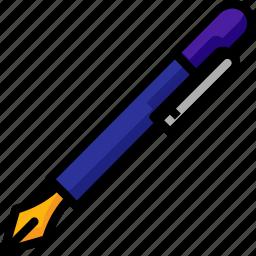 fountain, pen, stationary, write, writting icon