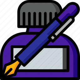 color, ink, pot, stationary, write, writting icon