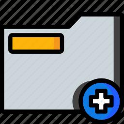 add, folder, plus, stationary, system icon