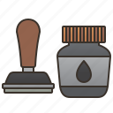 document, ink, label, office, stamper