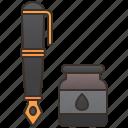 fountain, ink, pen, vintage, writing icon