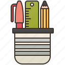 desk, office, pencil, stand, supplies icon