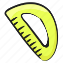 d scale, stationery, ruler, protractor, architect scale, geometry icon
