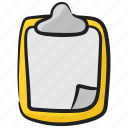 clipboard, file, paper board, stationery item, writing board icon