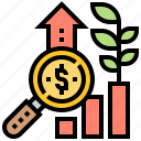 analysis, growth, income, interest, investment icon