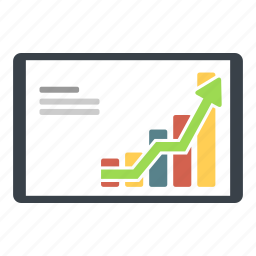 analytics, bussines, chart, graph, ipad, stock, tablet icon