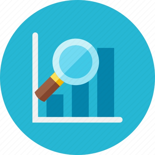 graph, magnifier icon