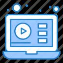 video, tutorials, education, laptop icon