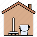 brush, cleaning, dusting, house, stayathome icon