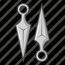 blade, cartoon, knife, kunai, object, sharp, weapon