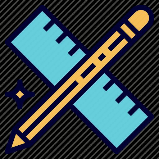 design, draw, education, pencil, ruler, school icon