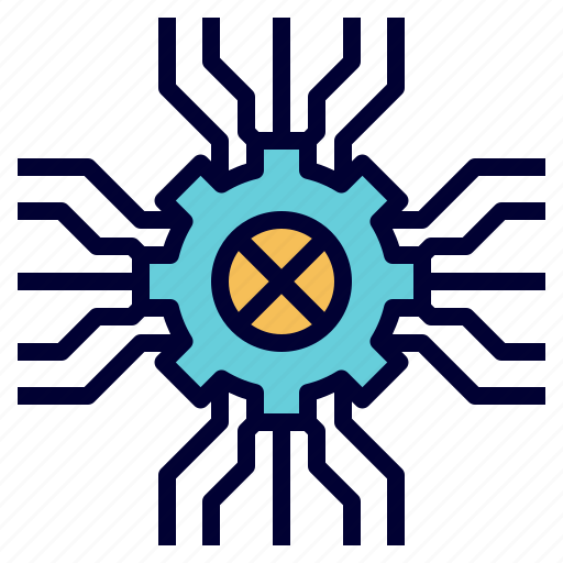 circuit, electronics, engineering, gear, machine, technology icon