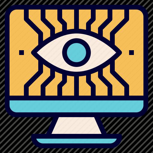 computer, education, electornics, eye, robotics, stem, technology icon