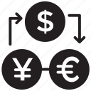 currency exchange, foreign currency, foreign exchange, money conversion, money exchange icon