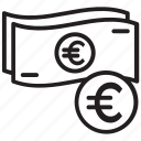 euro currency, euro exchange, euro money, euro rate, european currency icon