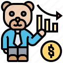 bearish, decline, downward, finance, tread icon
