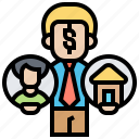 property, broker, offer, salesman, dealer icon