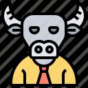 bull, head, obstinate, stubborn, trader icon