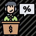 broker, commission, dealer, monetary, percent icon