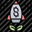 growth, launch, monetary, profit, rocket icon