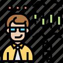 indicator, businessman, market, stock, trading icon