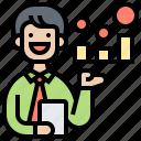 analysis, dealer, information, offer, presenter icon